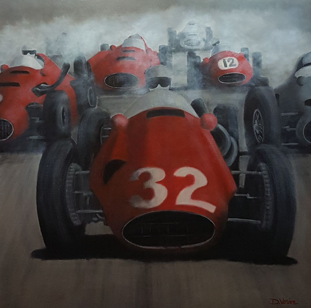 Maserati, maserati F 250,tableau verien, gallery race cars paintings, peinture voiture