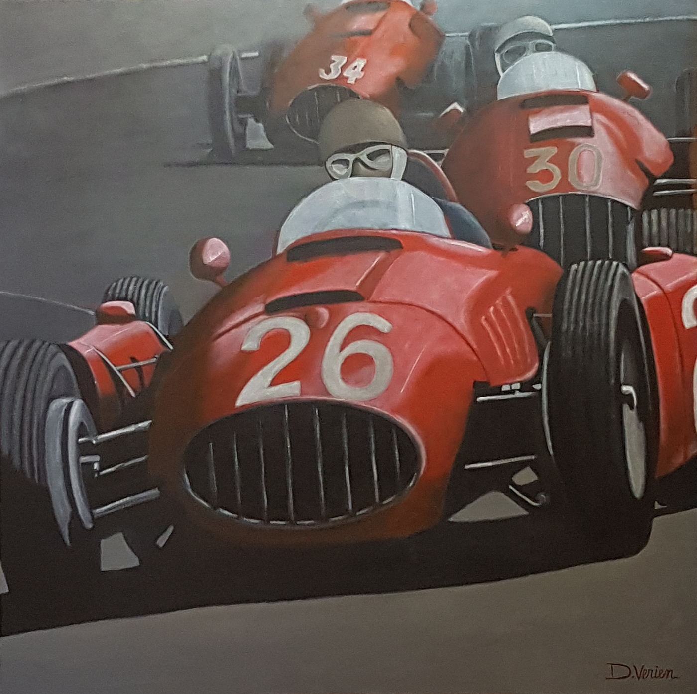 Maserati,tableau D.Verien, gallery race cars paintings, peinture voiture de course