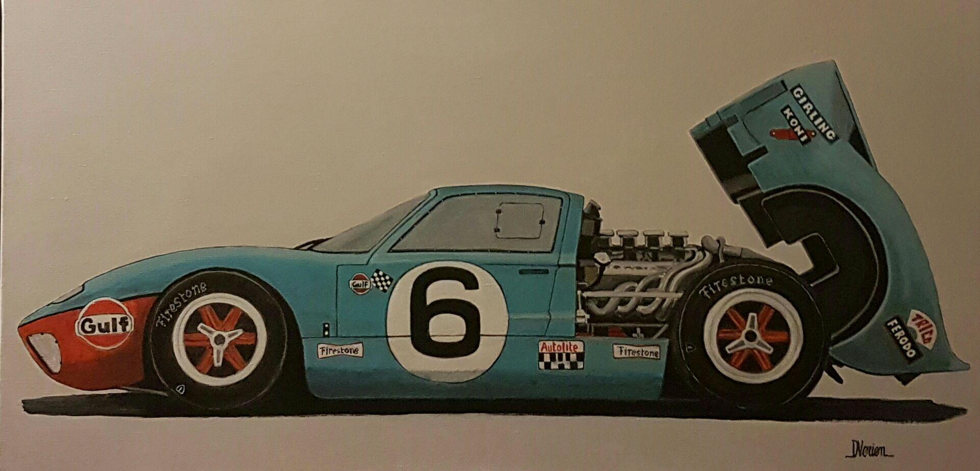 Ford GT40 Gulf peinture à l'huile D.Verien