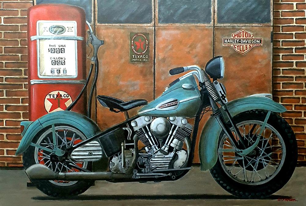 Harley Davidson Knucklehead 1940 - tableau 130x89 cm