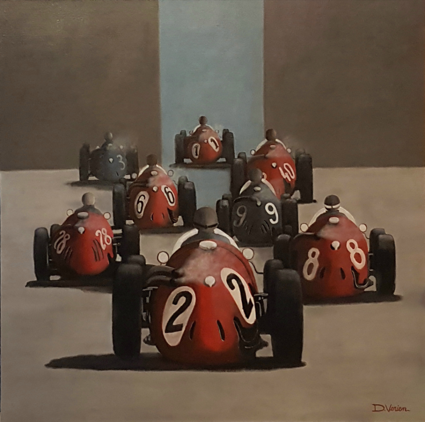 Maserati, maserati 250 F, tableau verien, gallery race cars paintings, peinture voiture