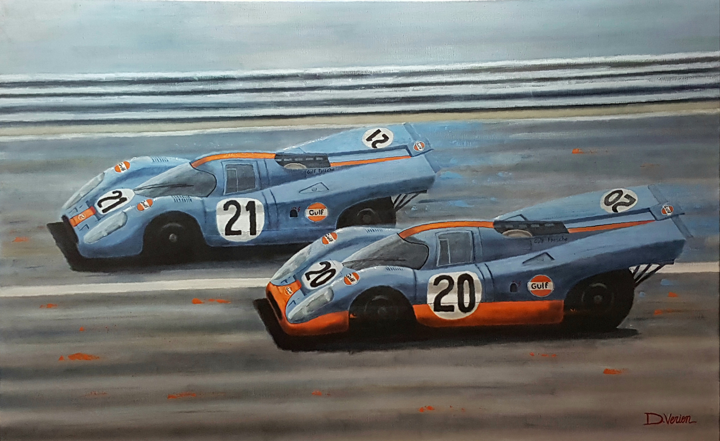 Porsche 917 Le Mans 1970, Porsche 917, Gulf, gallery race cars paintings