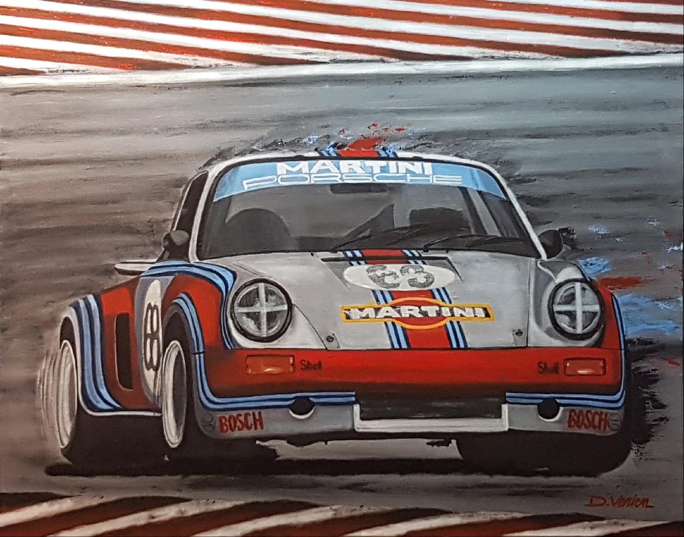 Porsche RSR Martini Racing 1973 - tableau huile sur toile
