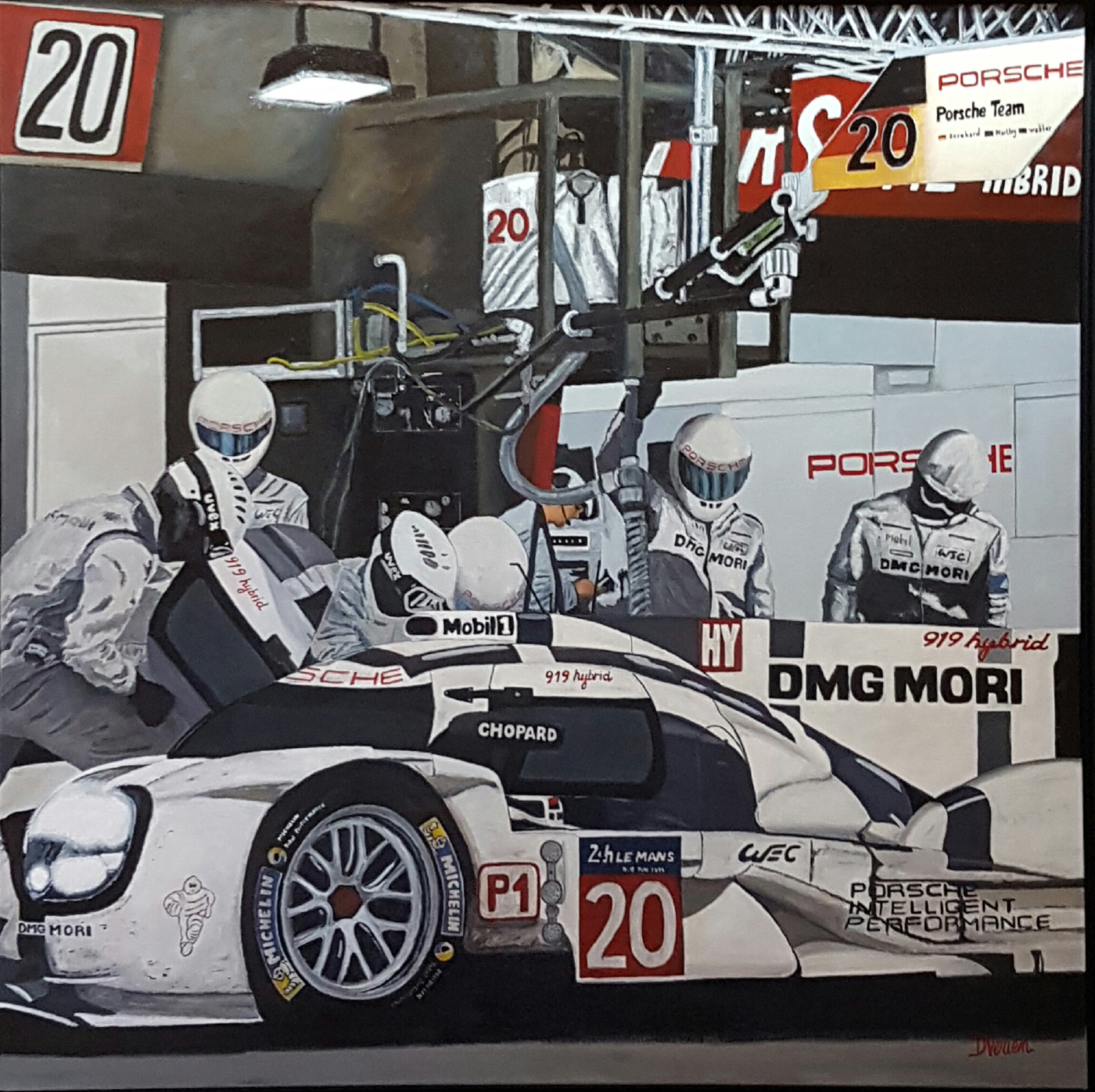 ravitaillement 24h du Mans, gallery race cars paintings peinture à l'huile